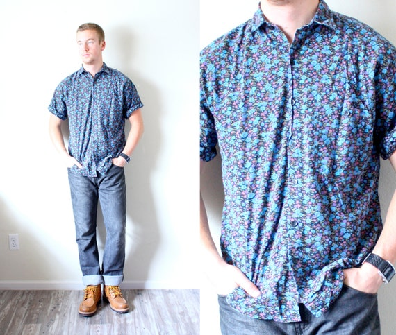 Mens Blue Floral Shirt