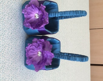 Teal  Satin with Purple Satin Accent and Purple Flower Girl Baskets Set of 2