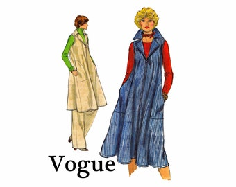 Vintage Vogue UNCUT Sewing Pattern Size 16 Bust 38 Misses Sleeveless Tent Jumper Dress Smock Top and Pants Very Easy Vogue 9680