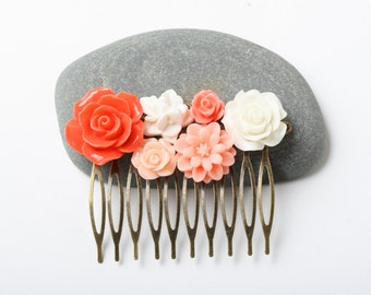 Coral Flower Hair comb, coral wedding hair accessories, vintage style hair comb, bridal hair comb, wedding accessories, made in Canada