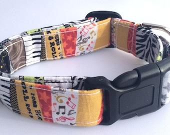 Rock 'N Roll Music Dog Collar Size XS, S, M, L