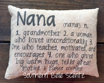 Nana Grandmother definition feed sack decorative pillow