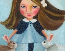 Girl with Bunnies, Fine Art Print of Original Oil Painting, Nursery Art,Gift for Baby, Rabbit Print,Whimsical Girl,Pastel, Children Room,
