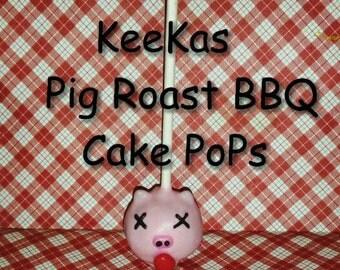 Pig Roast BBQ party favors 12 pig Roast cake pops for your graduation party pig roast hog roast
