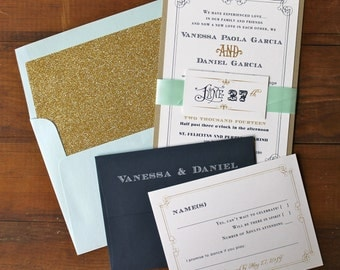 "Navy, Gold and Pale Blue Wedding Invitations, Glam Wedding, Gold Glitter Envelope Liners - ""Whimsy Elegance Blue and Gold"" Deposit"