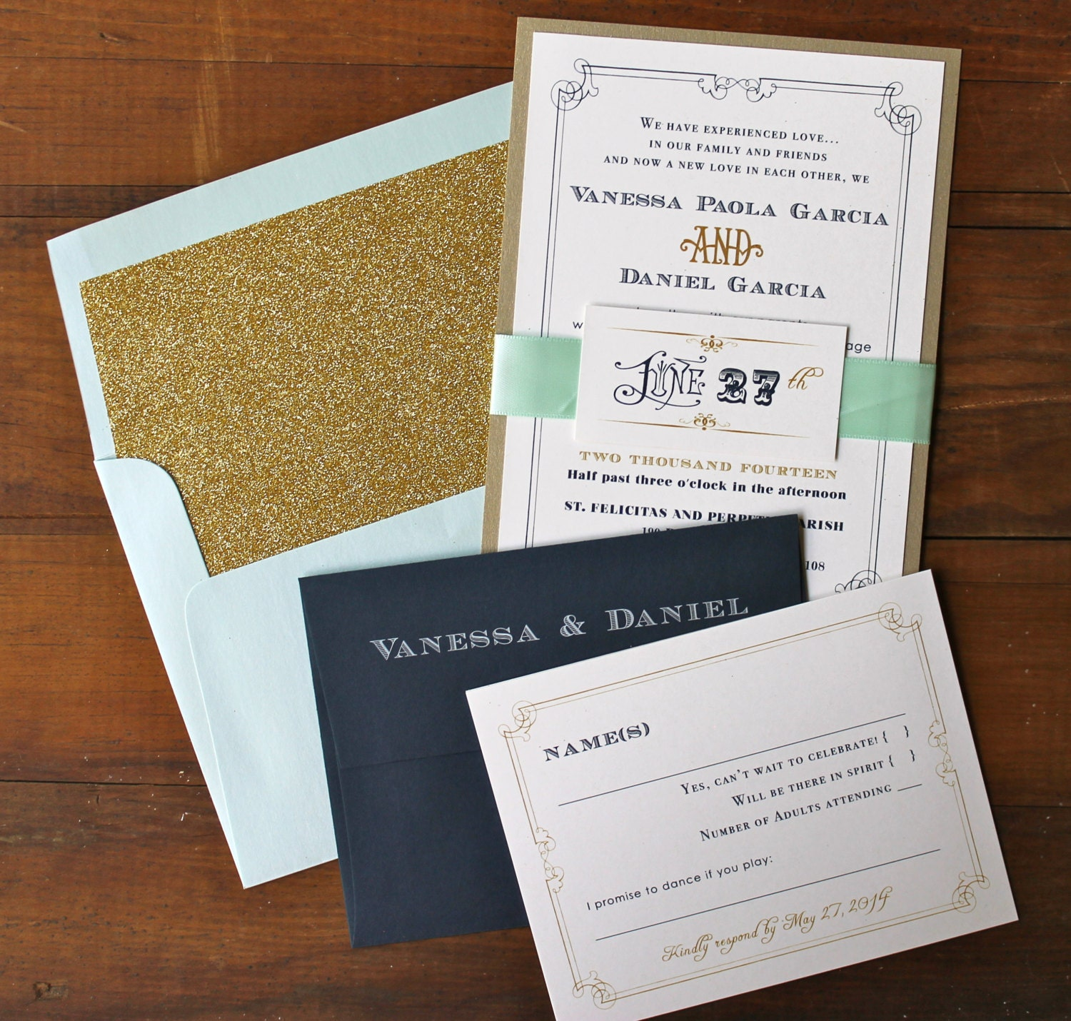Navy Gold And Pale Blue Wedding Invitations Glam