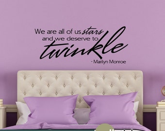 Marilyn Monroe Wall Decal Stars Twinkle Wall Quote Living Room Vinyl Wall Decal Bedroom Decor - WD0178