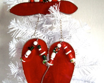 Handmade Christmas red stained glass flip flops and matching hat suncatcher