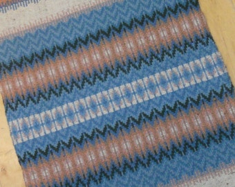 E637 Boundweave Rug, Peach & Blue Floor or Wall Hanging, Zen Meditation Rug