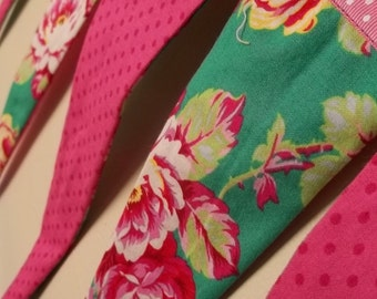 Hot Pink Polka Dot and Bright Green with Pink Roses Banner, Bunting, Prayer Flags Wedding Decoration