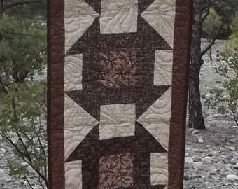 Quilted Brown and Cream Traditional Churn Dash Pattern Table Runner or Wall Hanging