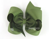 Olive Green Hair Bow - Baby Toddler Girl - Solid Color 4 Inch Boutique Bow on Alligator Clip Barrette