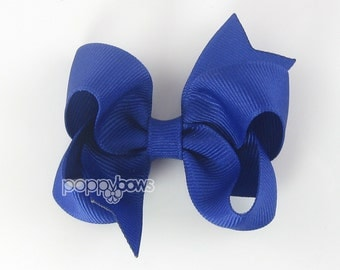 Royal Blue Hairbow - Baby Toddler Girl - Solid Color 3 Inch Boutique Hair Bow on Alligator Clip Barrette Dark Blue Fourth of July