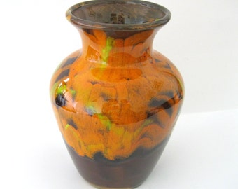 California Originals Vase Orange Drip High Gloss Glaze Large Pottery Mid Century  479 USA Made in USA - FL