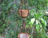 Brown Jute Beads 62 Inch Double Macrame Plant Hanger
