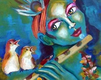 Fine art print HIGH QUALITY Birds singing with Krishna