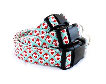 Aqua and Red Dog Collar and Leash, Valentine's Day Dog Collar, Heart Dog Collar, Love Dog Collar, , Wedding Dog Collar, Dog Collar, Pets