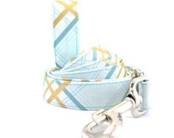 Blue Plaid Dog Collar and Leash, Blue Plaid Dog Leash, Blue Gold Dog Leash, Preppy Dog Leash, Boy Dog Leash, Dog Leash, Leash