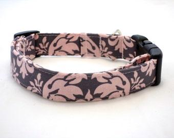 Pink Damask Dog Collar and Leash, Dog Collar, Pink Dog Collar, Damask Dog Collar, Gray Dog Collar, Girl Dog Collar, Damask Leash