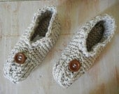 Knitted Slippers |  Oatmeal Slippers | Adult Large  Slippers