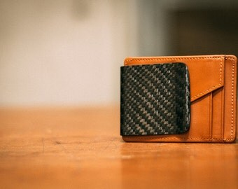 Brown D15 Carbon Fiber Twill weave Wallet