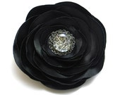 Behind the glass- lovely black flower, floral brooch, satin flower, glass stone