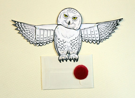 owl post card snowy articulated paper doll with seal
