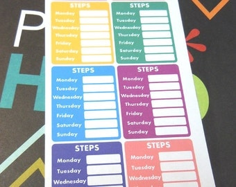 Weekly Step Tracker Stickers-Set of 8
