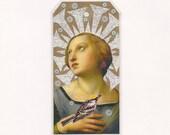 saint bookmark - altered art - small collage art - Halo - spiritual art - art tag