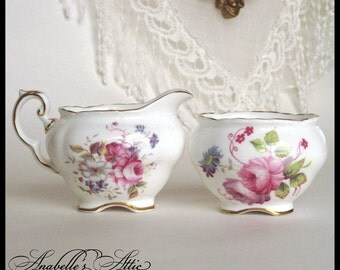 Coalport Porcelain Cream and Open Sugar / English Bone China / Shrewsbury Pattern / Cabbage Roses & Flowers / Pink Green
