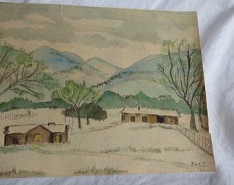 Original Early 1900's Painting Mountains and Farmhouses Signed KayJ Folk Art - Box B