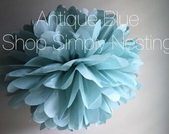 Antique Blue Tissue Paper Pom Poms, Paper Pom, Decorations, Wedding Decor, Something Blue, Bridal Shower Decoration, Muted Blue Pom Pom