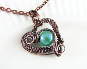 Wire Wrapped Pendant Turquoise and Copper Jewelry Wire Wrapped Jewelry Copper Necklace Free Form Turquoise Heart Necklace