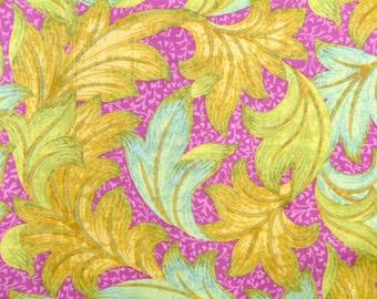 Carla Miller Fabric, Lilly Rose Acanthus Dance, Hibiscus, CM35, Raspberry, Gold, Aqua, Floral