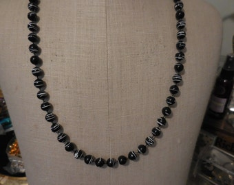 Vintage Black and White Plastic Beaded Necklace Long Silver Tone 1960s to 1970s