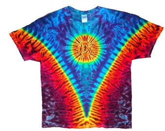 Tie Dye Sun V  Short Sleeve Tee Shirt