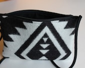 Small White and Black Purse Made With Wool, Cross Body or Shoulder, Black Zipper and Black Lining