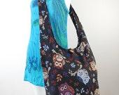 Cute Owl Hippie Hobo Sling Crossbody Bag Shoulder Purse , Messenger Bag in Black Red Blue Sand / You Pick color