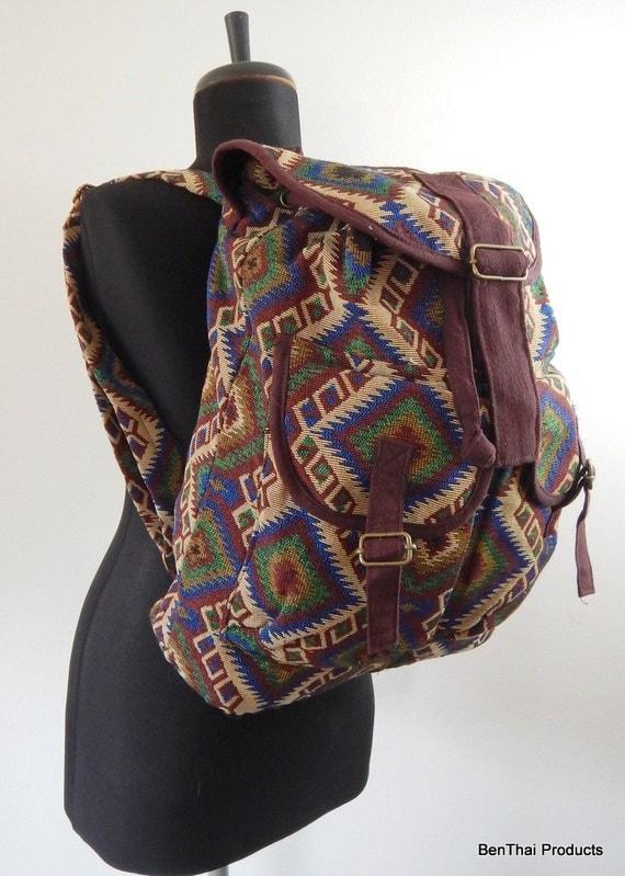 Hippie Boho Unique Backpack, Travel Bag, Messenger Purse, Canvas Bag, Daypack, Two Outside Pockets IBP19