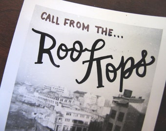 Call from the Roof Tops Illustration on Vintage Photograph