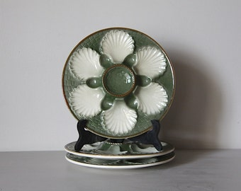 Set of 3 Vintage French Majolica Oyster Plates Green