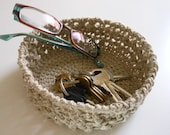 Handy Hemp Small Hand Crocheted Basket