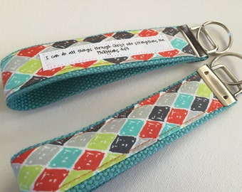 Surely You Jest on Aqua Canvas Fob:  You Choose Verse or Quote