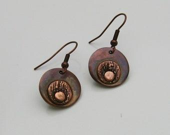 Copper Earrings, Handmade Copper Earrings, Copper Dangle Earrings, Rustic Earrings, Antiqued Copper Earrings