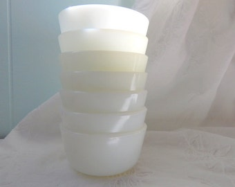 Vintage Milk Glass Custard Cups, Milk Glass Bowls