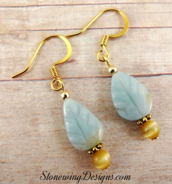 Amazonite Leaf and Gold Glass Earrings