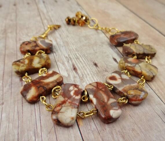 Birds Eye Ryolite Bracelet, Brown Stone Bracelet, Ryolite Bracelet, Stone Links Bracelet, Stairway to Heaven Bracelet in Ryolite