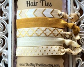 FOE Elastic Hair Ties Ivory and Gold Chevron Quatrefoil Dots Metallic Chic Toddlers Girls Women -Set of 5-