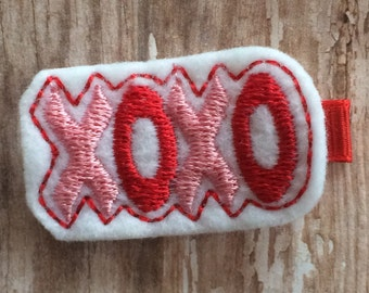 Love XOXO White Pink Red Felt Hair Clip Valentine's Day Babies, Toddlers, Girls