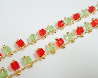 A-162. 30cm, GoldPlated chain with Red & Green Color Glass Beads,224-8